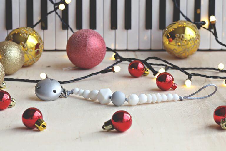 Kalėdinis šventinis čiulptuko laikiklis kūdikiui silikoninis