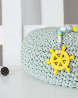 Brikis sensorinis lavinantis silikoninis kramtukas žaislas vaikui kūdikiui geltonas vairas čiulptuko laikiklis prisegamas kramtomas