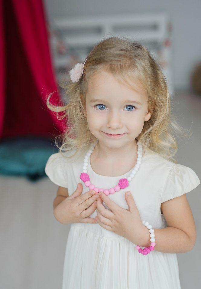papuošalai mergaitei silikoninis vėrinys ir apyrankė rožinė