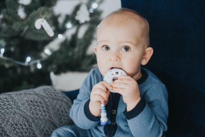 Silikoninis čiulptuko laikiklis su kramtuku spurga mėlynas berniukui