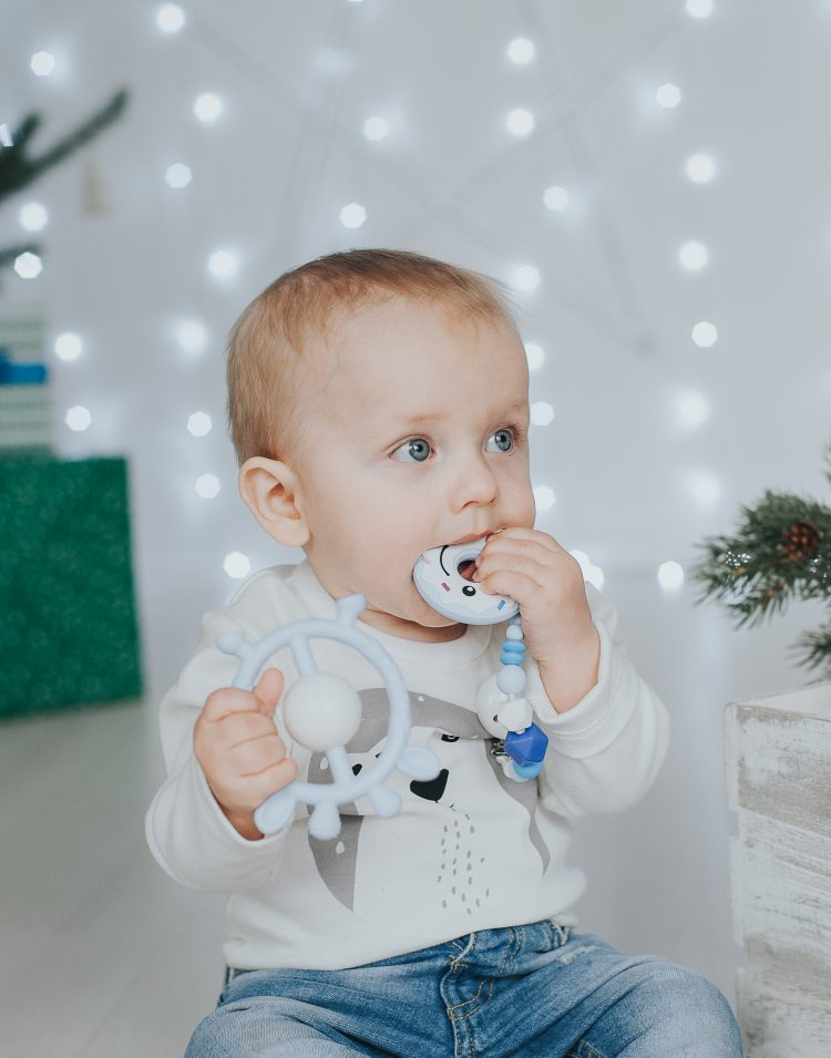 silikoninis kramtukas kūdikiui mėlynas